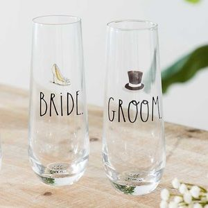 Rae Dunn Stemless Bride and Groom Flutes Set of 2